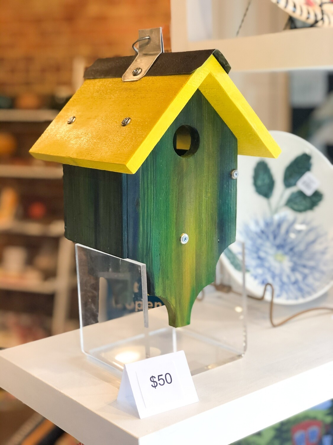 """Gard-50 Birdhouses, Hand painted Wood,   All Approx 9-11""""H X 7""""D X 8""""W"""