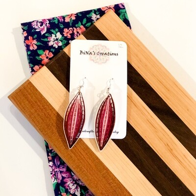 Shah-204 Comb Quilled Leaf Earrings