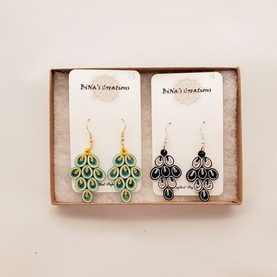 Shah-207 Quilled Folded Crescent Earrings
