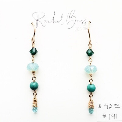 Bass-141 Link Turquoise Earrings