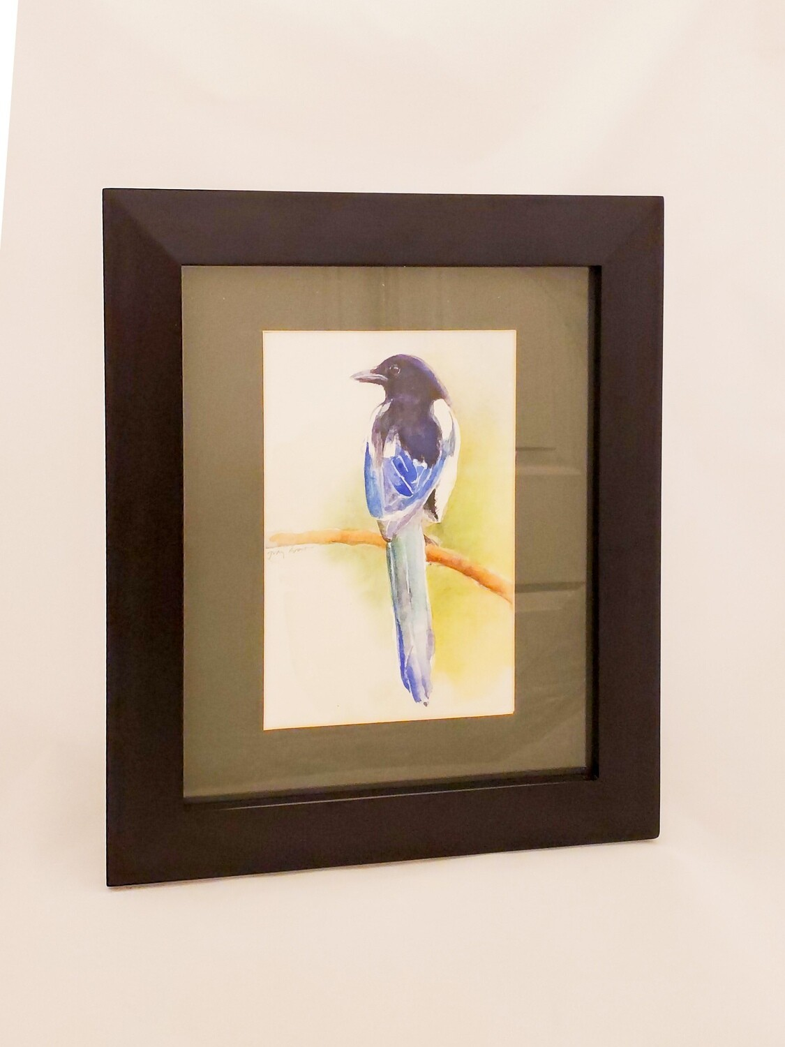 "Gran-114 ""English Magpie"",Framed Original Watercolor ,10""W X 12.5"" H"