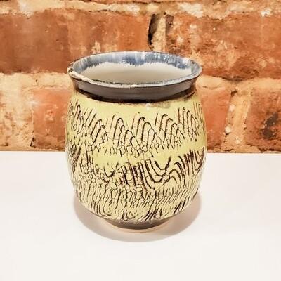 Knop-135 Stoneware Vase Salt-Treatment Chartreuse/Brown (5