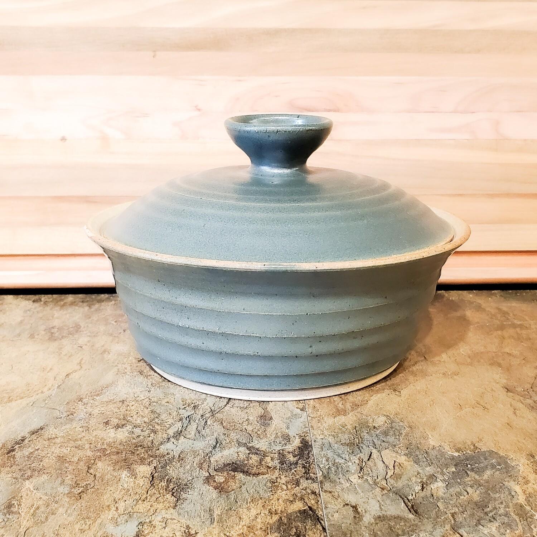 "Knop-353 Stoneware Casserole Slate Green Matte Finish (3"" H x 8"" W) Dishwasher & Microwave Safe"