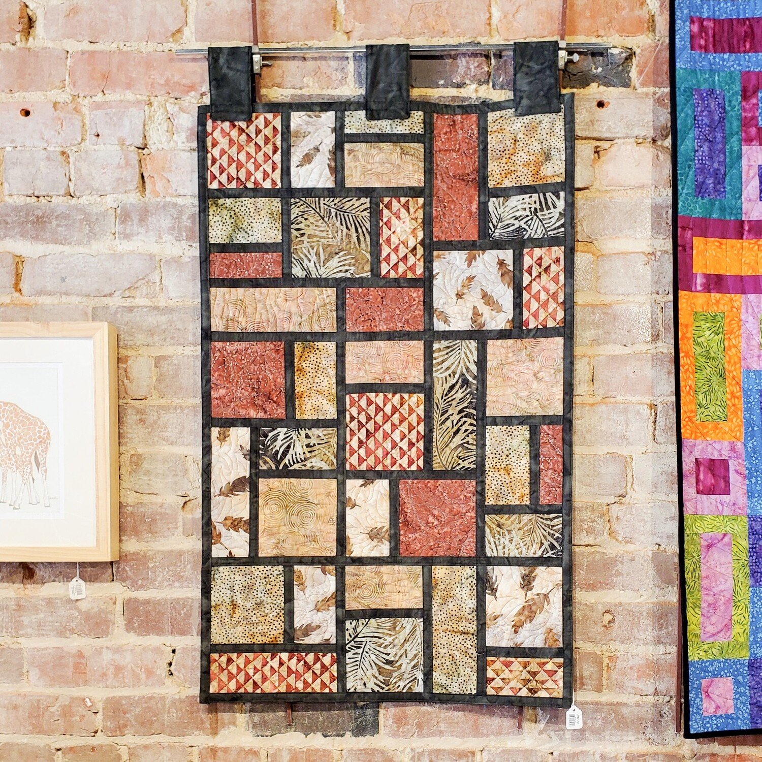 """Gree-24 Quilt 21""""W X 37""""H Framed Brown Leaves"""