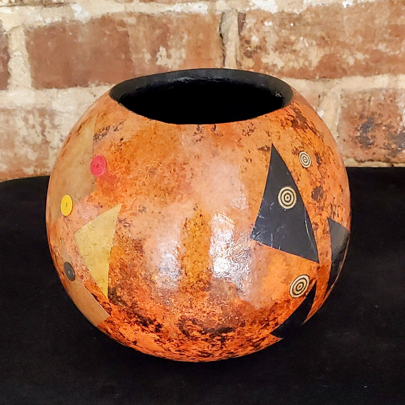 """Kram-948 Gourd, Cannonball Collaged Bowl, 6""""x6""""x6"""""""