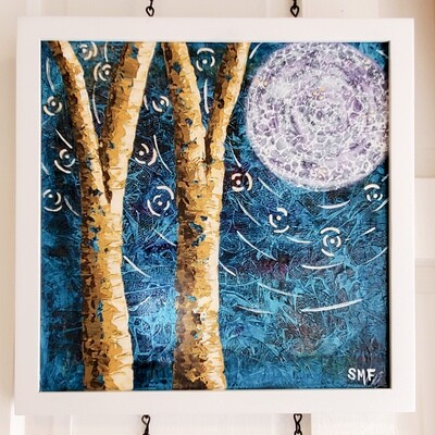 Fitz-1100 Moonglow 12x12 Acrylic Framed Painting