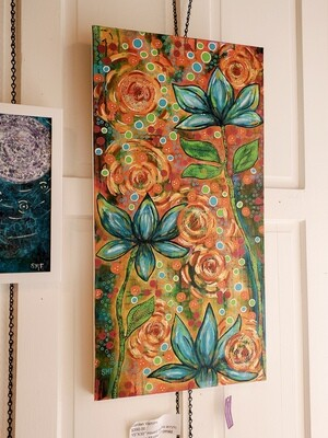 Fitz-315 Garden Visitors Acrylic Painting 15x30