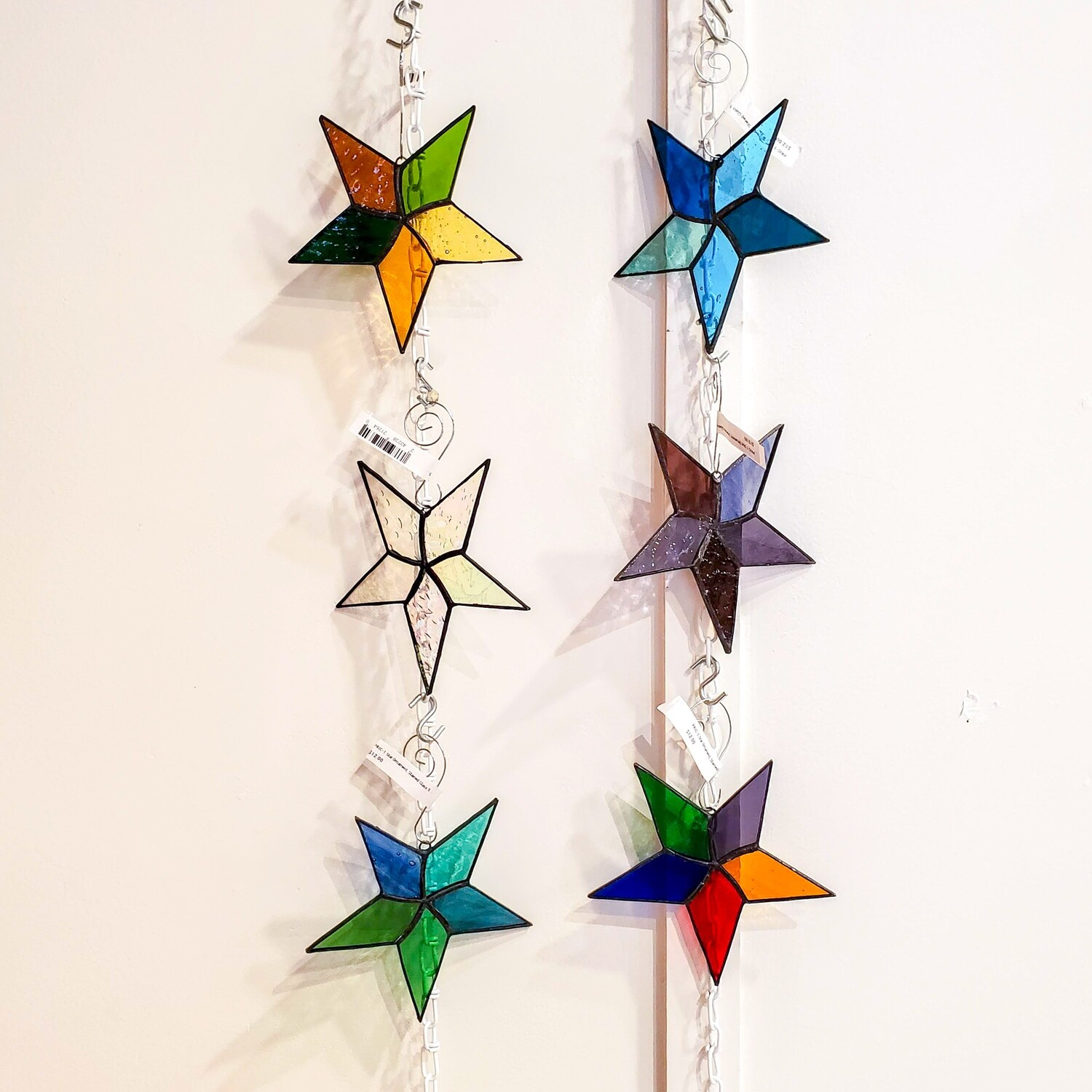 """Pric-1 Star Ornament, Stained Glass 5"""" Dia"""