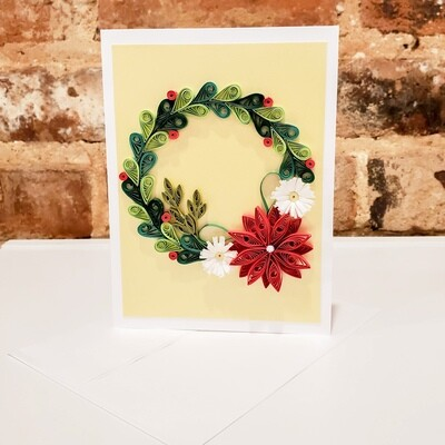 Shah-106 Wreath Card, Quilled Paper, 6