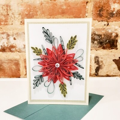 Shah-107 Red Flower Card, Quilled Paper, 6