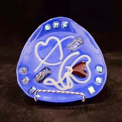 Tara-102 Blue Dish W/hearts, Fused Glass, Approx 7