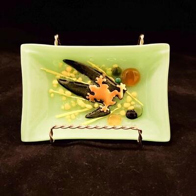 Tara-113 Green Frog Soap Dish, Fused Glass, 4