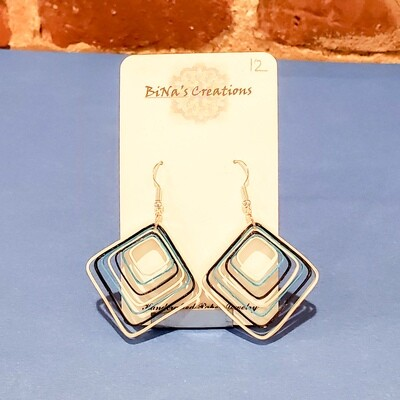 Shah-206 Square Earring, Quilled Paper, 1.25