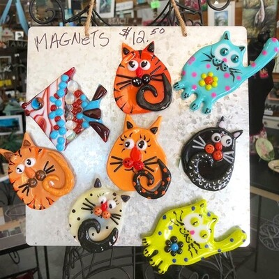Glass Fusion Cat Magnets byJoan Quigley