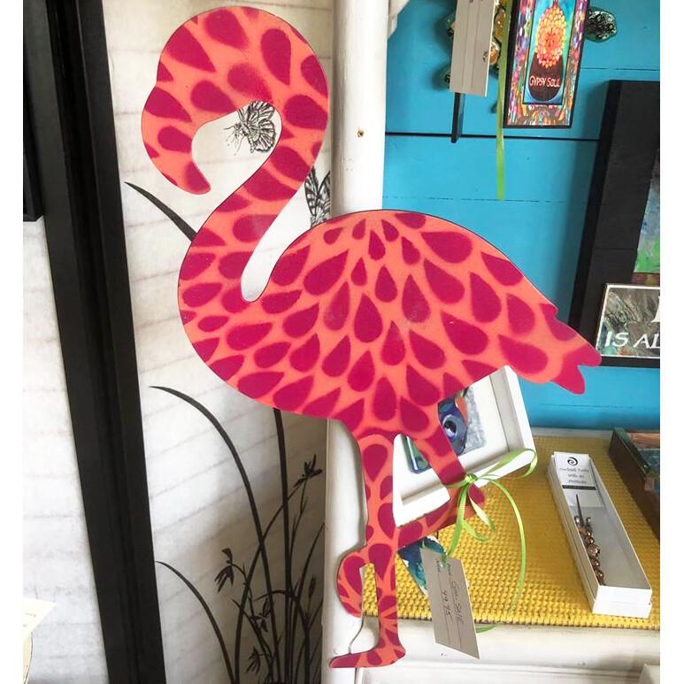 Pink Flamingo on Metal
