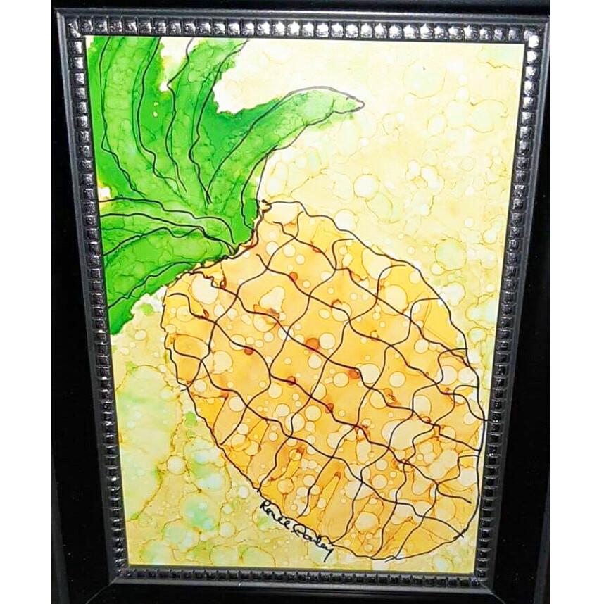 Alcohol Ink Pineapple  by Renee Donley