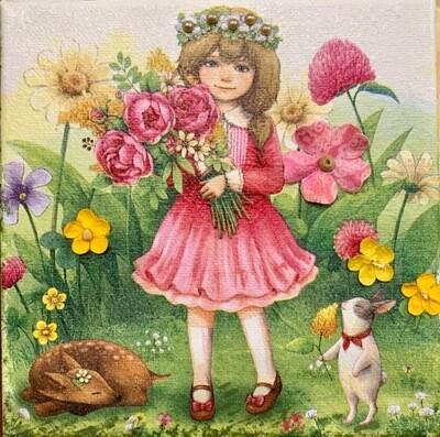 Mixed Media Napkin Art by Denise Miller