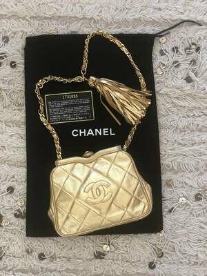 Vintage 90s CHANEL CC Gold Quilted Leather Gold Chain FANNY Waist Bum Belt Mini Bag Shoulder Pouch Purse Pack ~ Excellent