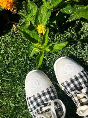 VINTAGE CHANEL CC LOGO GINGHAM SNEAKERS 38 / US 7 - 7.5