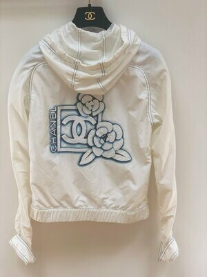Vintage CHANEL Monogram Logo CC FLORAL White Blue Jacket Parka Sport Coat Bomber Hoodie eu 40  us S M L