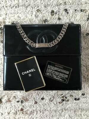 Vintage 90's CHANEL Large CC Logo ID Chain Black Patent Leather Top Handle Satchel Bag Clutch Purse - Great Cond!