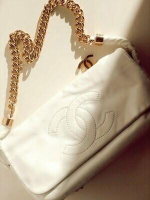 Vintage 90s CHANEL Huge CC - Gold Thick Chain & Charm Classic Flap Off White Shoulder Bag
