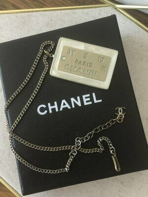 Vintage CHANEL PARIS Silver ID Plate Jumbo Charm Pendant Necklace Jewelry Dog Tag