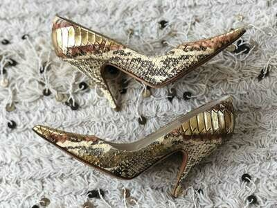 Vintage CHRISTIAN DIOR Metallic Gold Bronze Nude PYTHON Snake Snakeskin Leather Pumps Heels Shoes eu 37.5 us 6.5 - 7