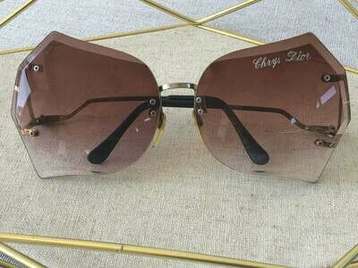 Vintage 70's CHRISTIAN DIOR Paris Ombre Gradient Rose Purple Amber Lens Sunglasses Rimless