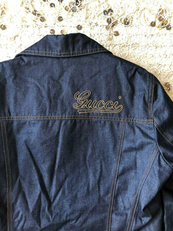 Vintage GUCCI GG Monogram Zipper Logo detail 90's Logo Denim Jean Jacket  S M L
