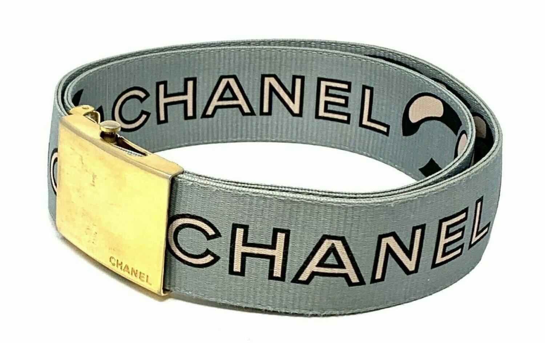 Vintage 90's CHANEL Monogram Letter Logos Iconic Webbing Chain Print Large Black White Blue Gold Buckle Waist Belt S M L