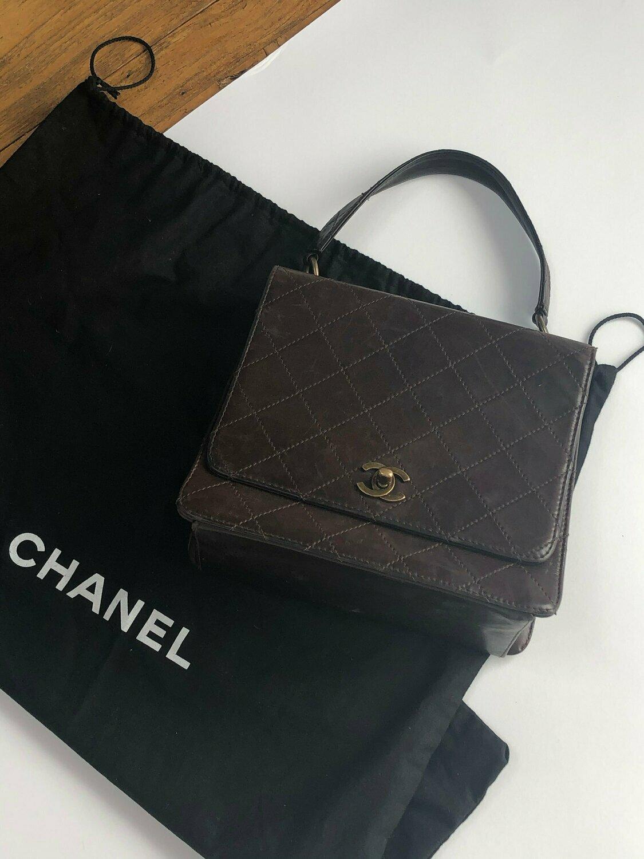 Authentic Vintage CHANEL CC Turnlock Kelly Brown Leather Tote Bag Satchel Handbag Shoulder Purse