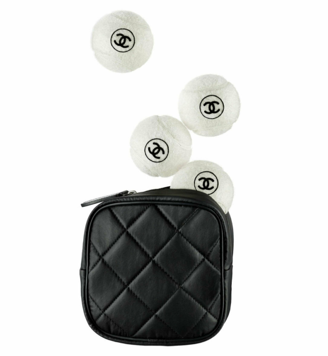 CHANEL 4 PC TENNIS BALL WITH MATELASSE QUILTED CARRYING CASE