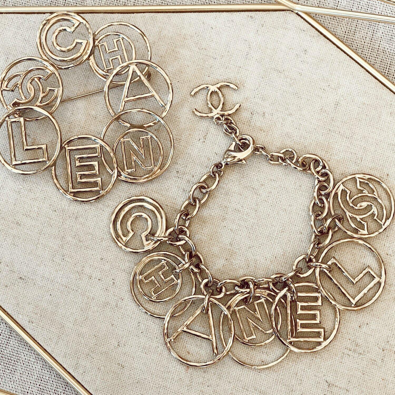 Vintage 90's CHANEL Paris Huge XL Large CC Circle Logo Hoola Hoop Silver Gold Jewelry Charm Bracelet Cuff