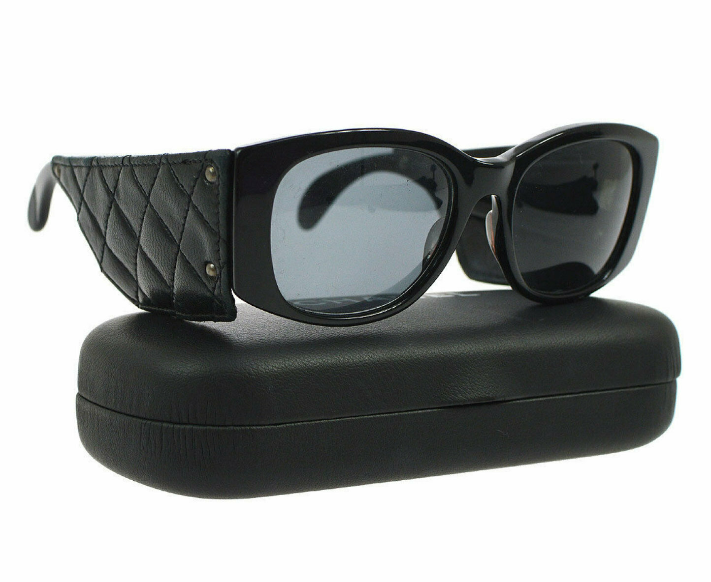 Vintage Rare CHANEL PARIS 1987 Matelasse Quilted Black Leather Frames Sunglasses