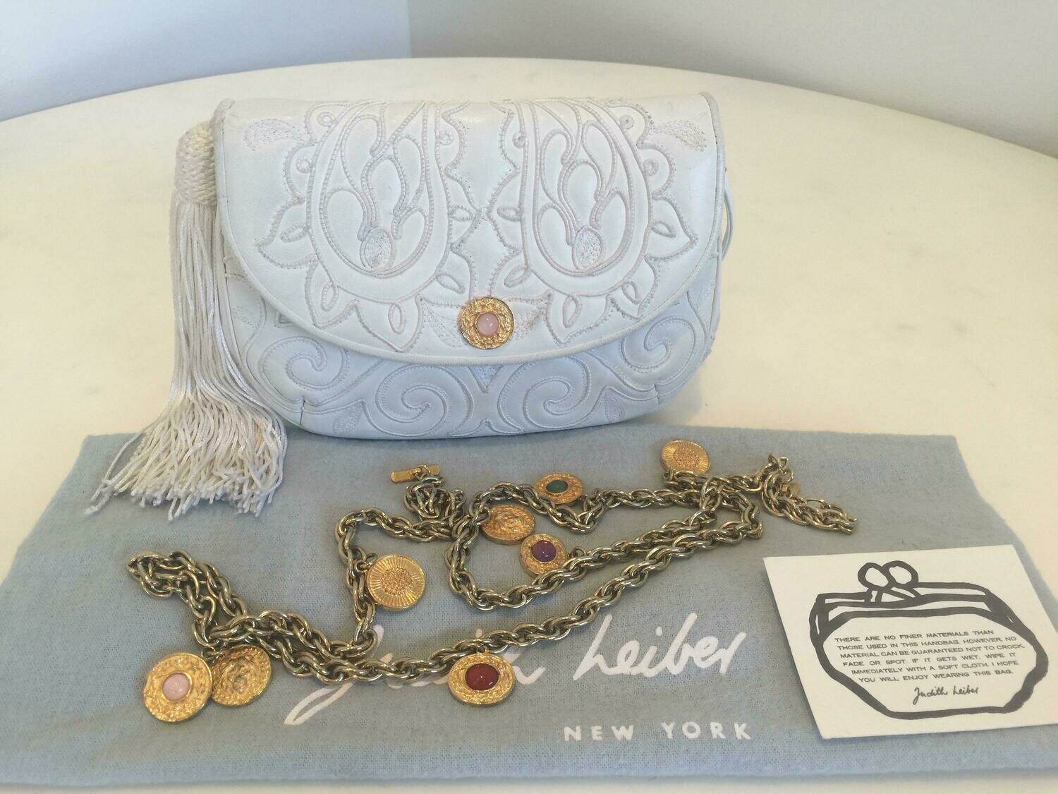 Vintage JUDITH LEIBER Embroidered Tassel White Leather Evening Bag Clutch Jeweled Crossbody