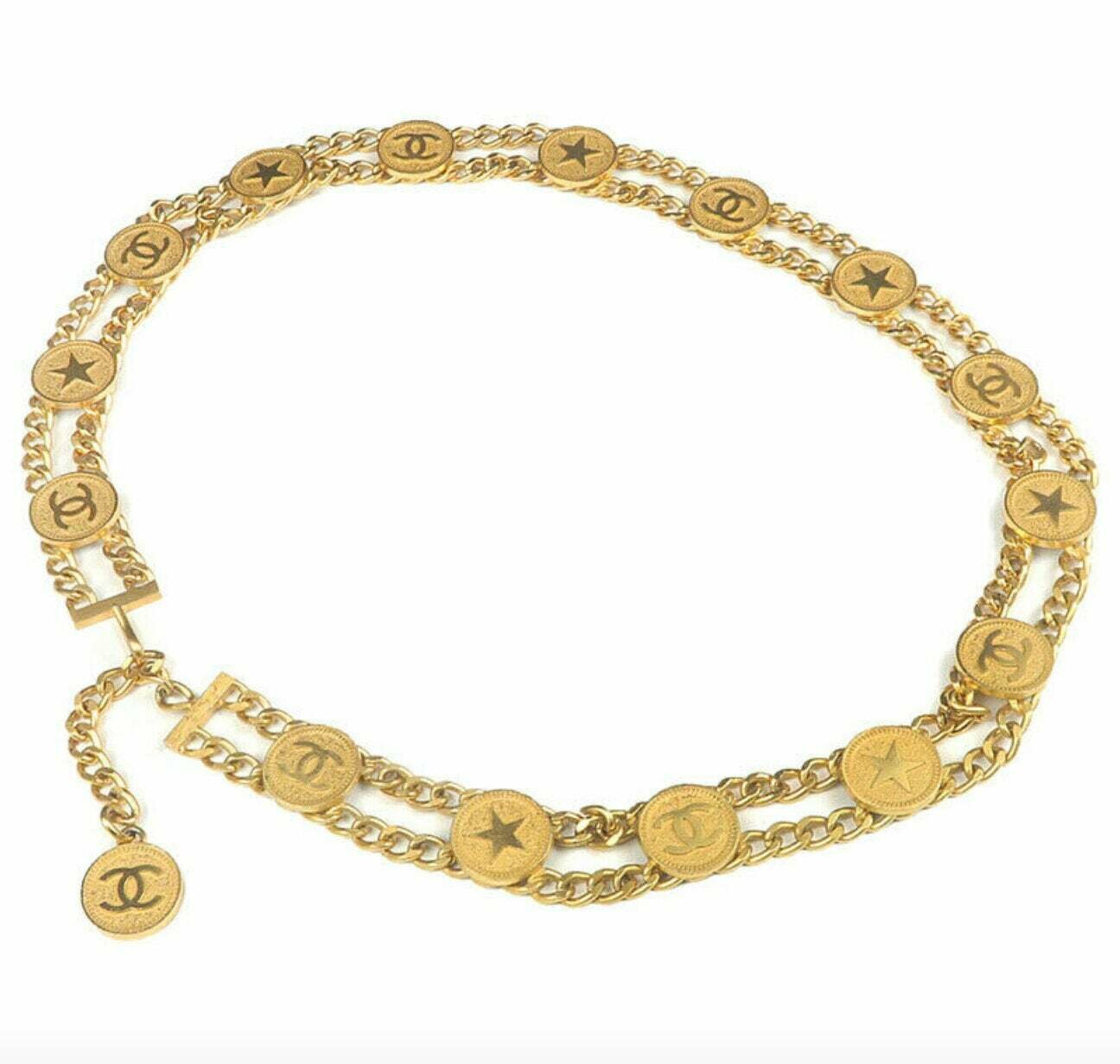 Vintage 90's CHANEL CC Letter Logo Star Disc Charm Gold Double Chain waist BELT necklace jewelry