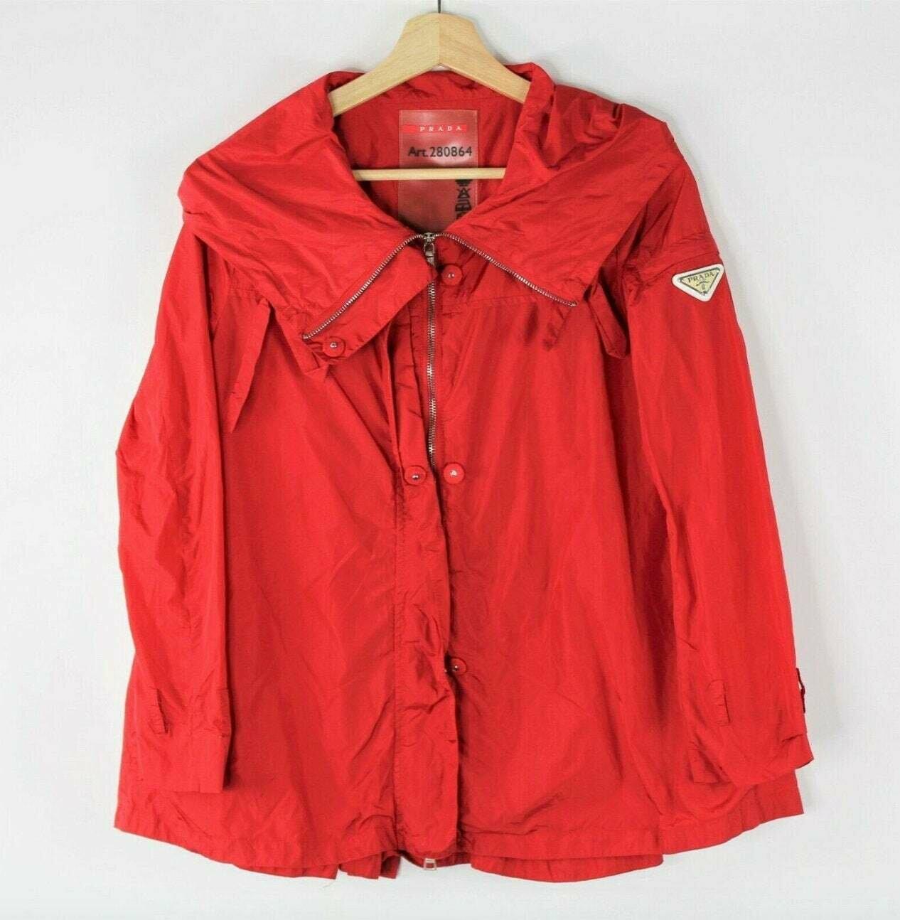 Vintage 90's PRADA MILANO Logo Plate Red Sport Windbreaker Athletic Jacket Coat S / M