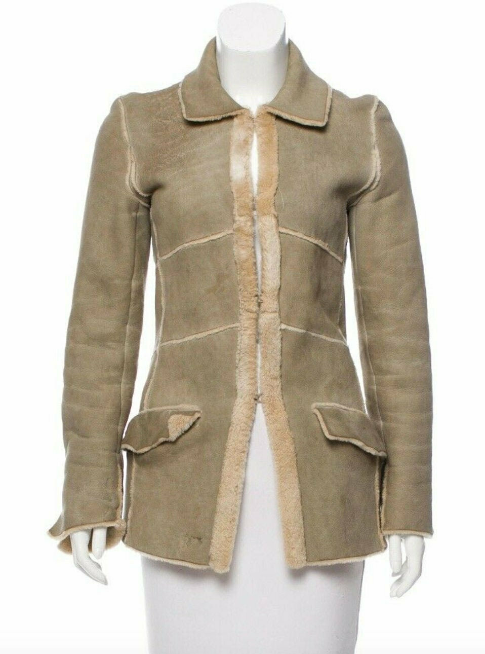 Vintage 90's CHANEL Leather Shearling Lambs Wool Beige Camel Bell Sleeves Coat Trench Jacket