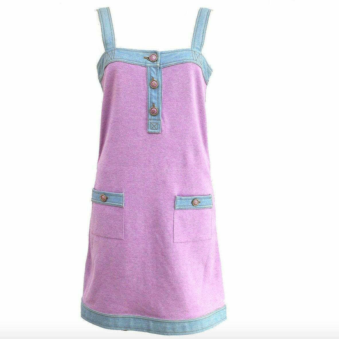 Vintage 90's CHANEL CC Logo Buttons Pink Cashmere Denim Dress Eu 36 us S / M - Super RARE!!