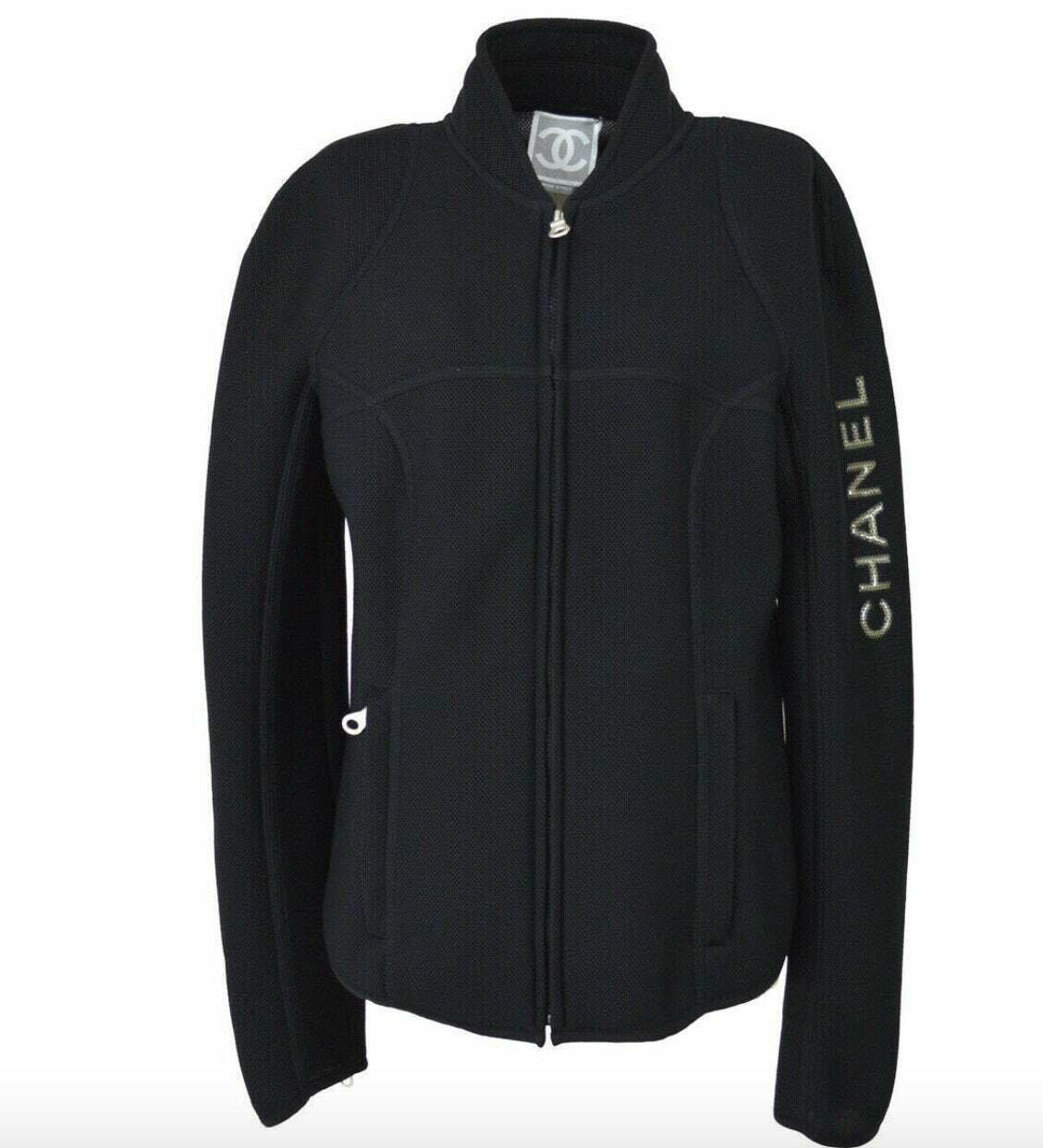 Vintage CHANEL Monogram Logo CC Black Mesh Jacket Puffer Sport Coat Bomber eu 44  us S M L