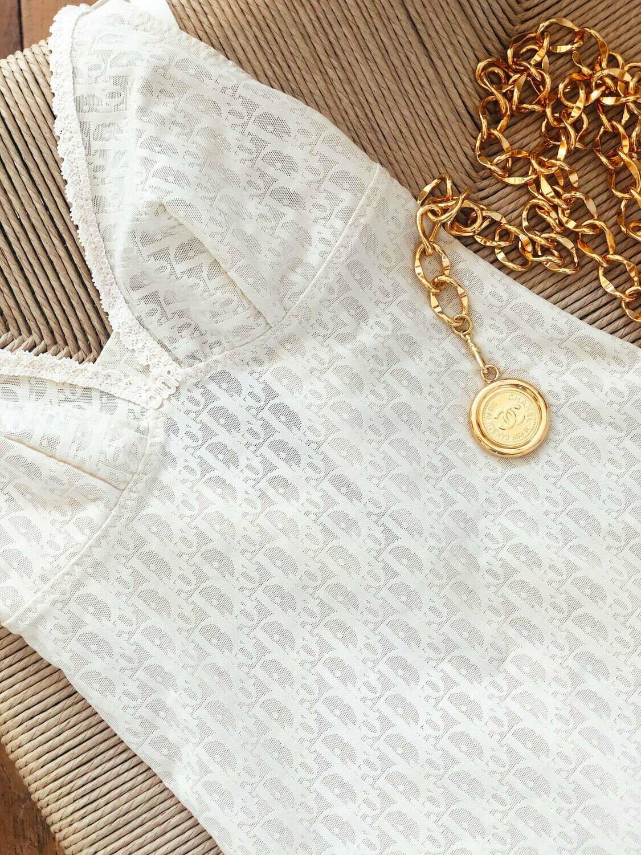 Vintage Christian DIOR Paris MONOGRAM Logo Nude Lace Teddy Shapewear Bralette Lingerie Panties S M 34B
