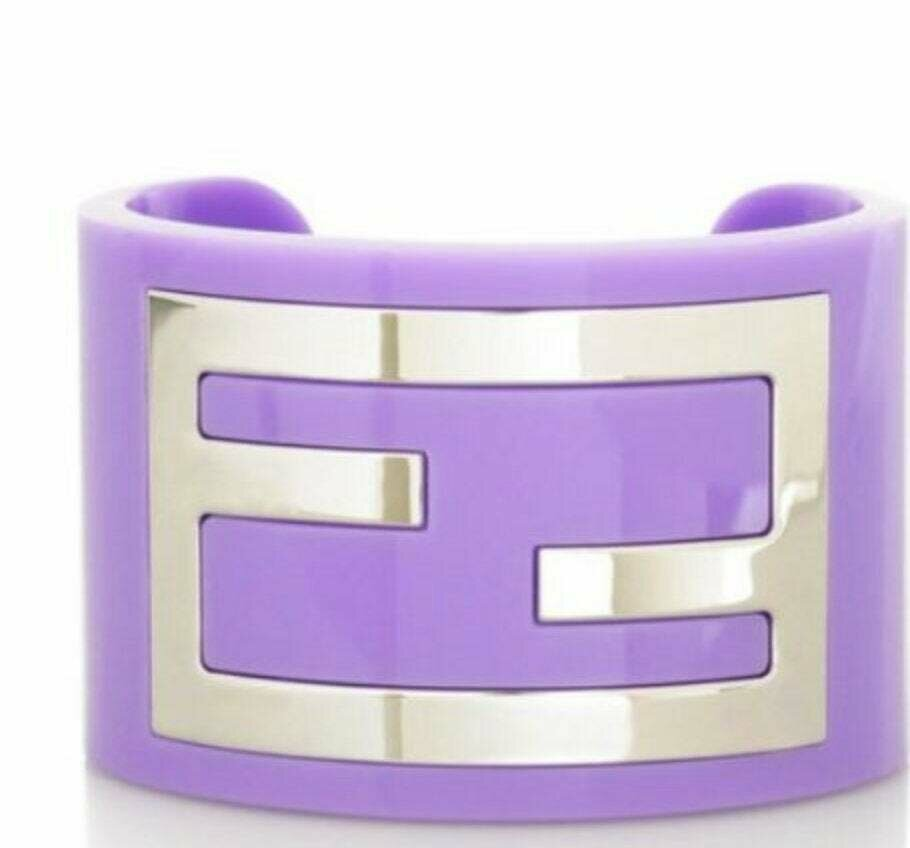 RARE Vintage 90's FENDI ZUCCA Logo Layered Silver Lavender Purple Lilac Resin Cuff Bangle Bracelet S / M