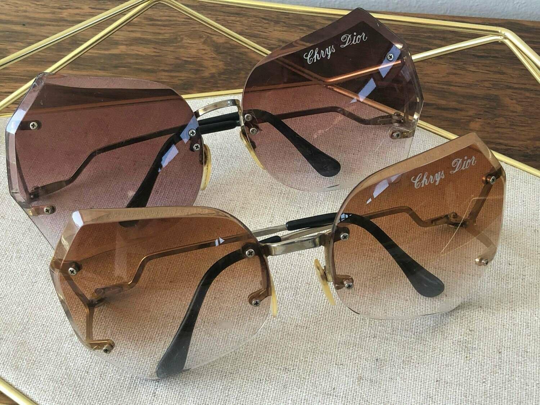 Vintage 70's CHRISTIAN DIOR Paris Ombre Gradient Amber Rose Lens Sunglasses Rimless