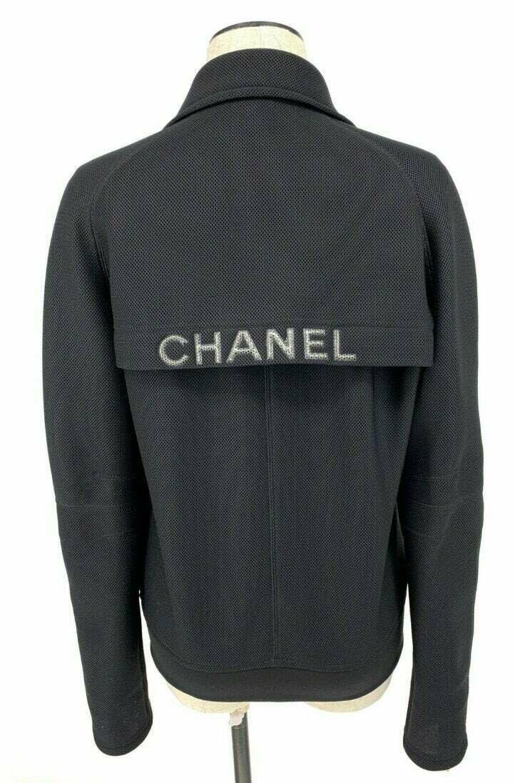Vintage CHANEL Monogram Logo CC Black Mesh Jacket Puffer Sport Coat Bomber eu 38  us S M
