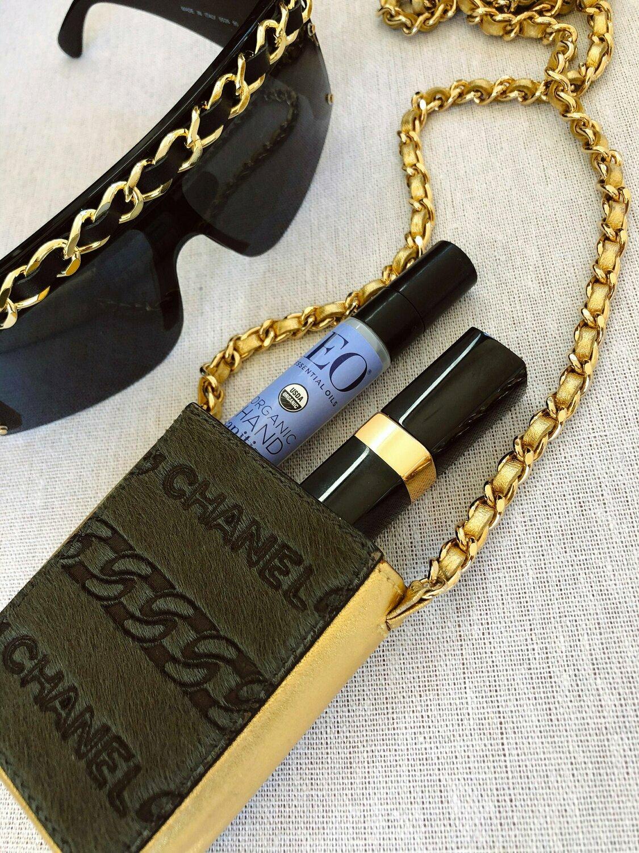 Vintage 90's CHANEL CC Logo Calf Hair Gold Leather Chain MINI Crossbody Purse Bag Handbag Evening Clutch