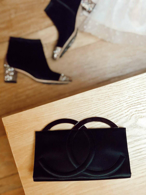 Vintage CHANEL CC Metal Logo Monogram Frame Black Satin Clutch Purse Evening Bag Handbag - WOW!