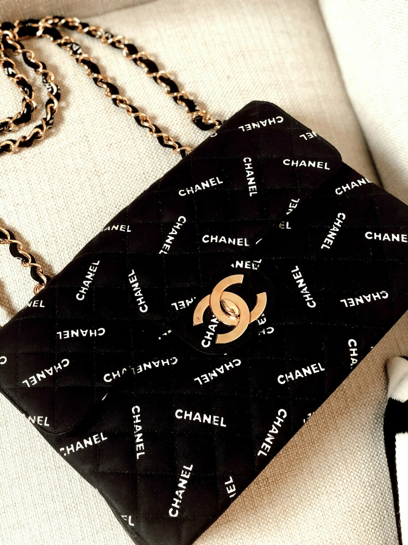 Vintage 90's CHANEL Jumbo Letters Script Maxi CC Logos Monogram Black White Fabric Turnlock Crossbody Shoulder Bag Purse Gold Chain Strap