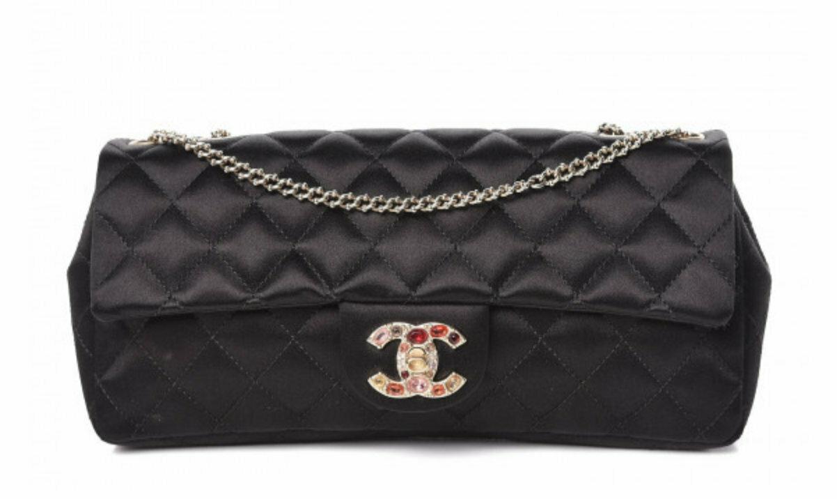 Vintage 90s CHANEL CC Logo Embellished Turnlock Classic Flap Black Satin Matelasse Quilted Handbag Shoulder Purse Clutch Evening Bag