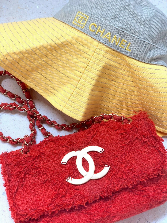 Vintage CHANEL CC Logo Classic Flap Red Quilted Fringe Fabric TWEED Chain Handbag Shoulder Purse Bag - Rare!